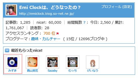60,000 nice! キリ番
