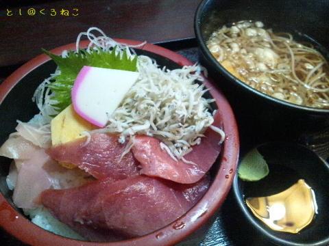 まぐろ&シラス丼(蕎麦付き)