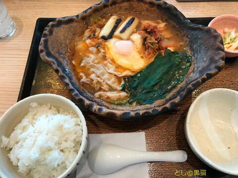 大戸屋で。旨辛味噌鍋定食